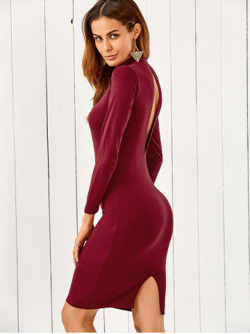 Shop Mock Neck Long Sleeve Back Cutout Pencil Dress WINE RED M