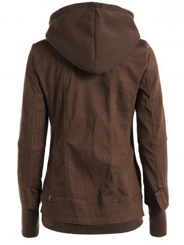 Affordable Trendy Hooded Long Sleeve Faux Twinset Pocket Design Women's Jacket - S BROWN Mobile