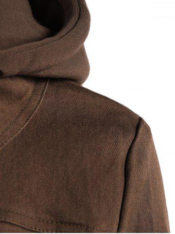 Hot Trendy Hooded Long Sleeve Faux Twinset Pocket Design Women's Jacket - S BROWN Mobile