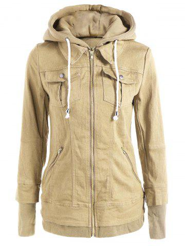 Outfits Trendy Hooded Long Sleeve Faux Twinset Pocket Design Women's Jacket