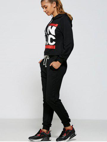 Shop Casual Run Dmc Pattern Hoodie and Pants Twinset - M BLACK Mobile
