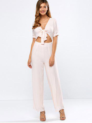 Affordable Plunging Neck Tied Cropped Wide Leg Jumpsuit