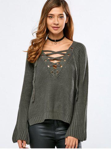Store V Neck Long Sleeve Lace Up Sweater