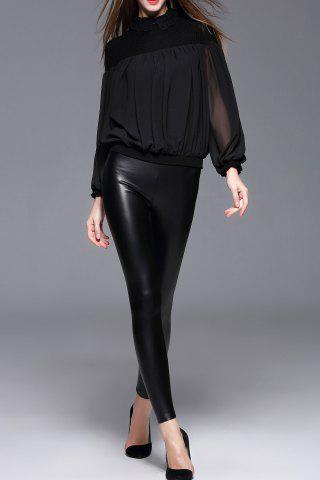Faux Leather Skinny Pants - BLACK - M
