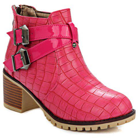 Cheap Embossed Plaid Pattern Double Buckle Ankle Boots