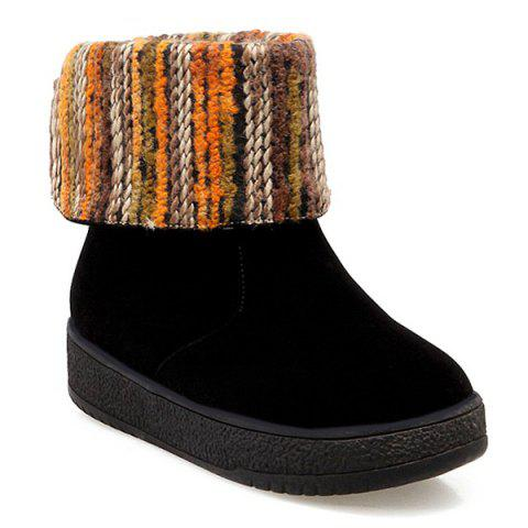 Discount PU Leather Knitting Round Toe Snow Boots