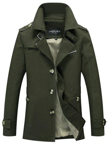 Notched Collar Epaulet Wind Coat