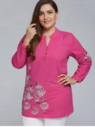 Plus Size Floral Embroidered Short Linen Dress - RED 3XL