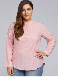 Plus Size Long Sleeve Floral Embroidered Shirt - LIGHT PINK 3XL