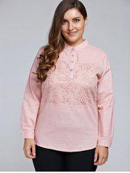 Plus Size Long Sleeve Embroidered Formal Shirt -