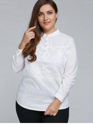 Plus Size Long Sleeve Embroidered Formal Shirt