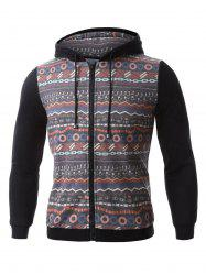 Colorful Geometric Print Long Sleeve Zip-Up Hoodie