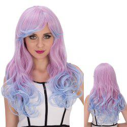Long Oblique Bang Wavy Double Color Cosplay Synthetic Wig - BLUE AND PINK