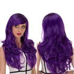 Long Side Bang Wavy Purple Gradient Cosplay Synthetic Wig