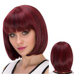 Short Neat Bang Straight Bob Heat Resistant Fiber Wig - COLORMIX