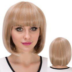Short Cute Neat Bang Straight Bob Synthetic Wig