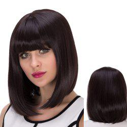 Medium Straight Neat Bang Tail Adduction Synthetic Wig -