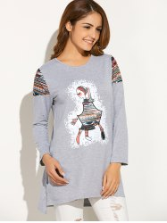 Long Sleeve Printed  Girl  Tee - GRAY XL