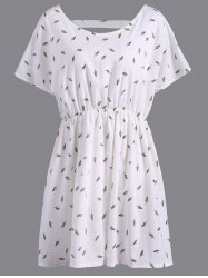 Refreshing V-Neck Short Sleeve Leaf Print Plus Size Women's Blouse - WHITE