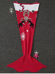 Warmth Christmas Elk Pattern Knitted Mermaid Tail Blanket - RED