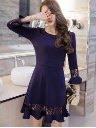 Lace Spliced Bell Sleeves Flare Dress - NAVY BLUE