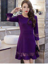 Lace Spliced Bell Sleeves Flare Dress - PURPLE