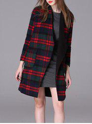 Plaid Loose Woolen Coat - RED