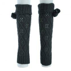 Flanging Small Ball Infinity Knitted Leg Warmers - DEEP GRAY