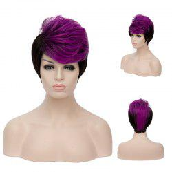 Short Fluffy Side Bang Straight Purple Highlights Synthetic Wig