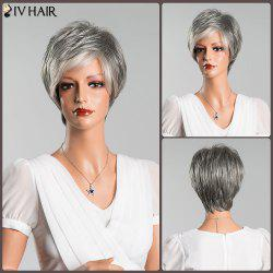 Multicolor Short Fluffy Straight Side Bang Siv Human Hair Wig