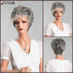 Mixed Color Short Fluffy Slightly Curled Side Bang Siv Human Hair Wig