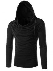 Long Sleeve Plain Drawstring Hooded T-Shirt - BLACK