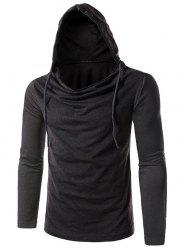 Long Sleeve Plain Drawstring Hooded T-Shirt - DEEP GRAY