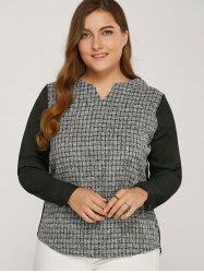 Long Sleeve Plaided Splicing Blouse -
