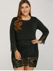 Long Sleeve Lace Splicing Plus Size Bodycon Dress