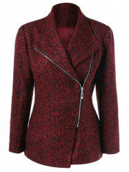 Inclined Zipper Marled Jacket - DARK RED XL
