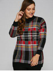 Mock Neck Plus Size Tartan Sweater