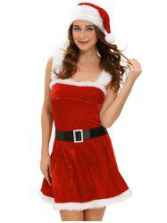 Christmas Cosplay Belted Cut Out Velvet Dress Costume - RED