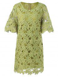 Lace Floral Overlay Dress -