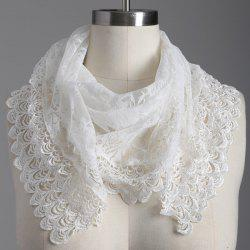 Travel Openwork Wave Cut Edge Trim Lace Triangle Scarf