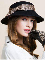 Leopard Print Bowknot Band Embellished Jazz Hat