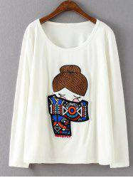 Plus Size Long Sleeve Cartoon Print T-Shirt
