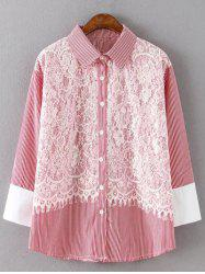 Striped Plus Size Lace Shirt -