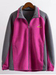 Plus Size Zipper Fly Color Block Jacket - ROSE RED 6XL