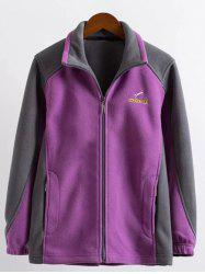 Plus Size Zipper Fly Color Block Jacket - VIOLET