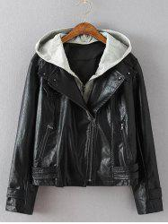 Plus Size Biker Jacket with Hood - BLACK