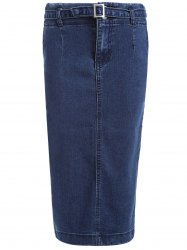 Slit Denim Pencil Skirt -
