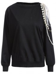 Cold Shoulder Embellished Pullover Sweatshirt -