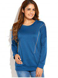 Zip Side Up Sweatshirt - Bleu canard S