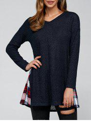 Drop Shoulder Plaid Trim Knitted Pullover -